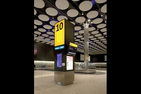 The baggage reclaim hall on the ground floor is bright, sharp and shiny